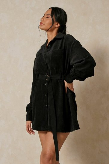 Black Balloon Sleeve Belted Cord Dress
