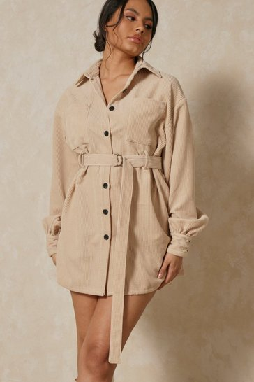 Stone Balloon Sleeve Belted Cord Dress