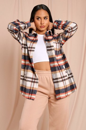 Rust Oversized Brushed Check Shacket