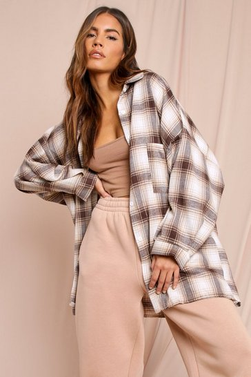 Cream Oversized Checked Shirt