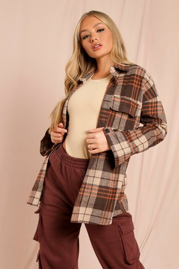 Brown Double Pocket Oversized Check Shacket