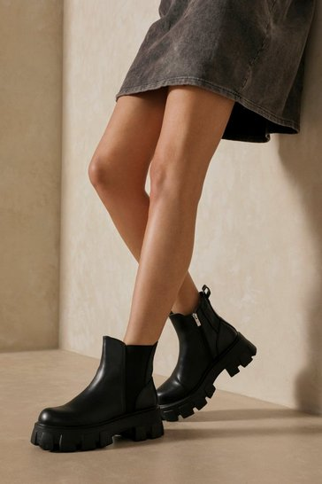 Black Leather Look Chunky Chelsea Ankle Boots