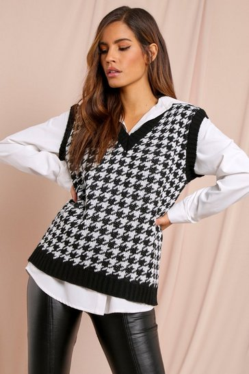 Black Dogtooth Knitted Tank Top Jumper