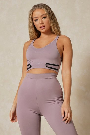 Lilac grey Misspap 2 Branded Racer Crop Top