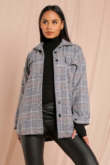 Black Heritage Check Oversized Shacket