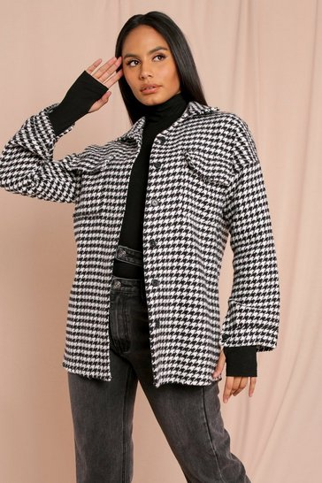 Black Dogtooth Oversized Shacket