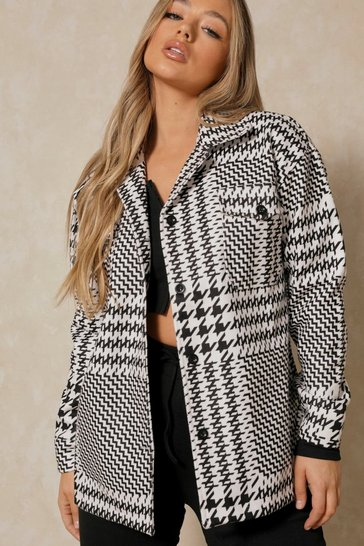 Black Dogtooth Checked Casual Jacket