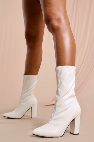 White Block Heel Sock Ankle Boot