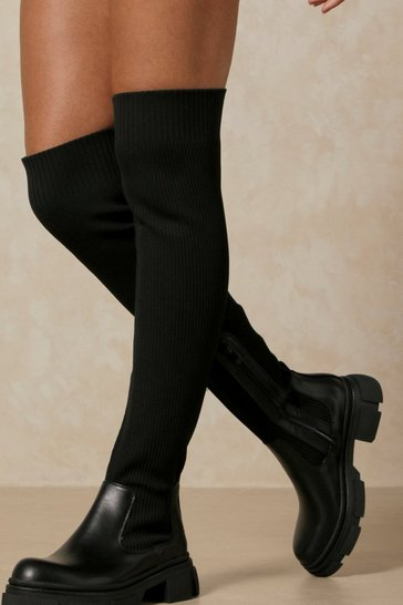 Black Knitted Over The Knee Chunky Boot