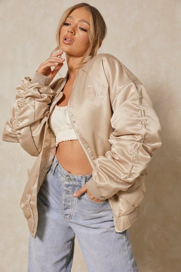 Stone Los Angeles Satin Oversized Bomber Jacket