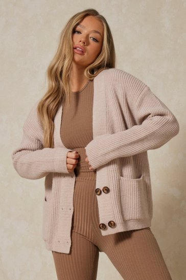 Cream Knitted Oversized Double Button Cardigan