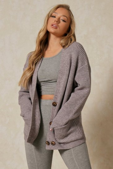 Grey Knitted Oversized Double Button Cardigan