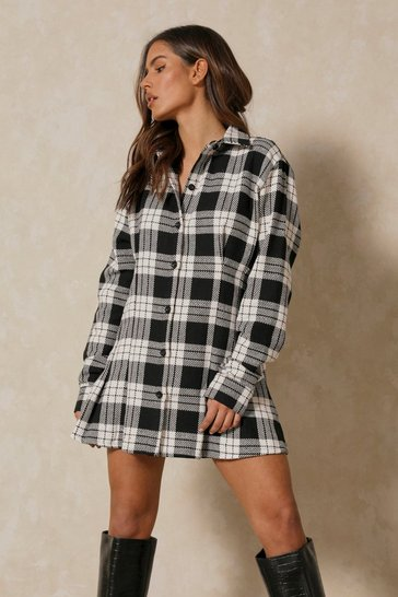 Black Flannel Fitted Shirt Dress