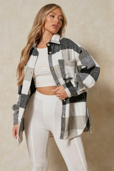 Black Brushed Oversized Checked Shacket