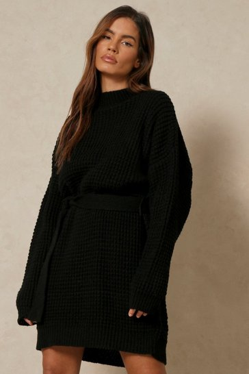 Black Waffle Knit Belted Jumper Dress