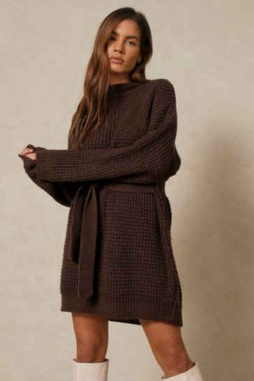 Chocolate Waffle Knit Belted Jumper Dress