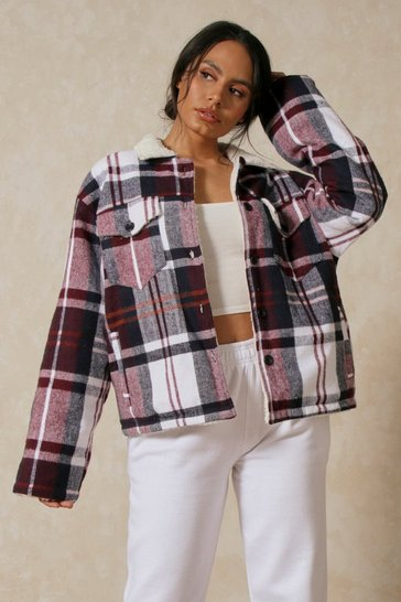 Wine Borg Lined Checked Trucker Jacket