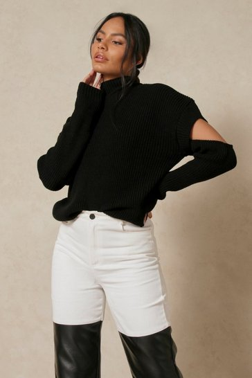Black Cut Out Detail Rib Knitted Jumper
