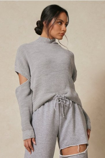 Grey Cut Out Detail Rib Knitted Jumper