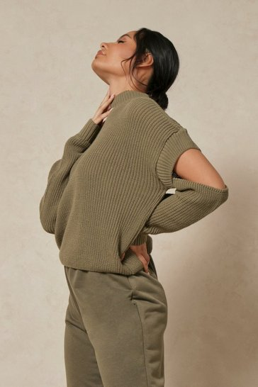 Khaki Cut Out Detail Rib Knitted Jumper