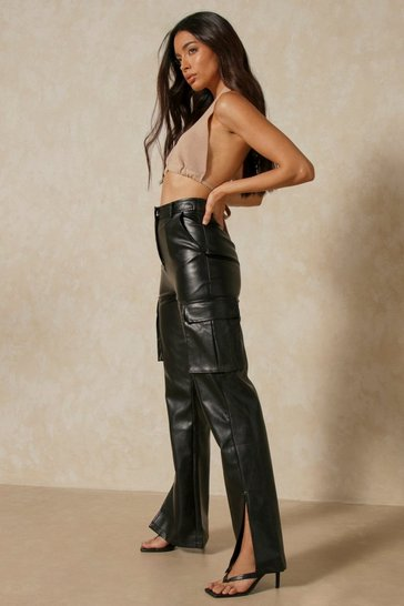 Black Leather Look Utility Flared Trousers