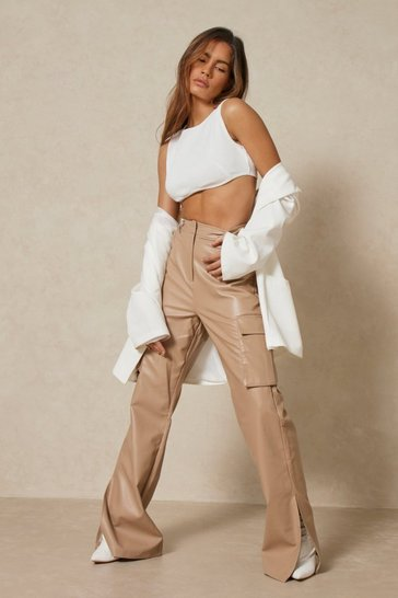 Stone Leather Look Utility Flared Trousers