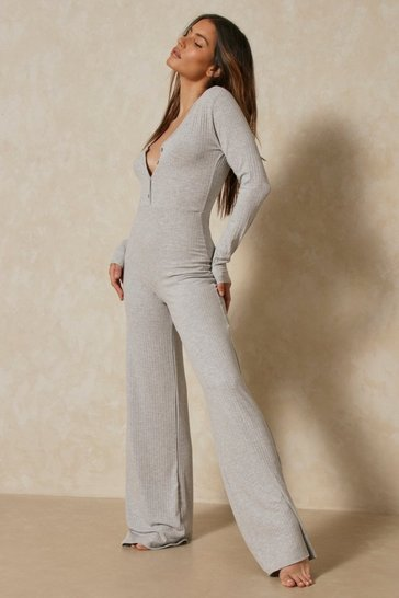 Grey Soft Rib Button Front Wide Leg Jumpsuit