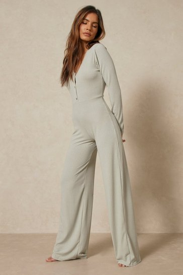 Sage Soft Rib Button Front Wide Leg Jumpsuit