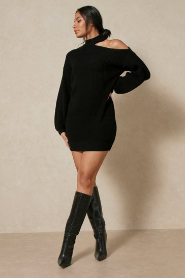 Black Cold Shoulder Knitted Jumper Dress