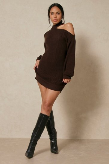 Chocolate Cold Shoulder Knitted Jumper Dress