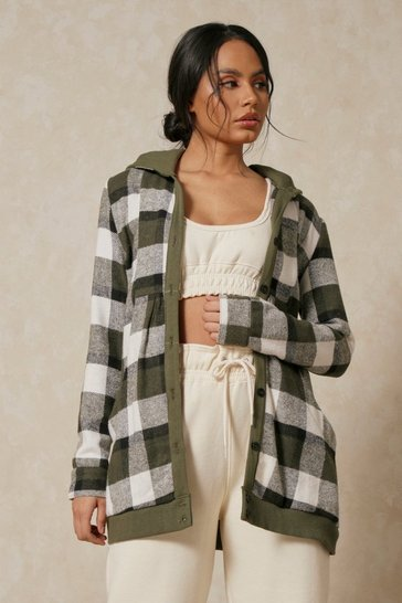 Green Checked Hooded Oversized Longline Jacket