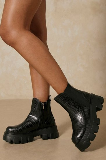 Black Croc Chunky Chelsea Ankle Boots
