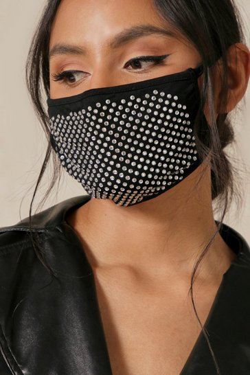 Black Diamante Fashion Face Mask