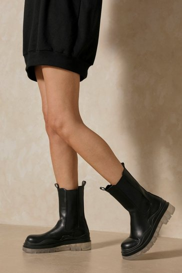Black Leather Look Clear Sole Calf Boots