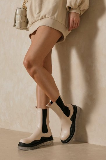 Cream Leather Look Clear Sole Calf Boots