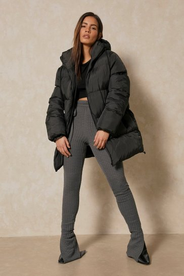Black Oversized Midi Puffer Jacket