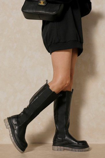 Black Leather Look Clear Sole Knee High Boots