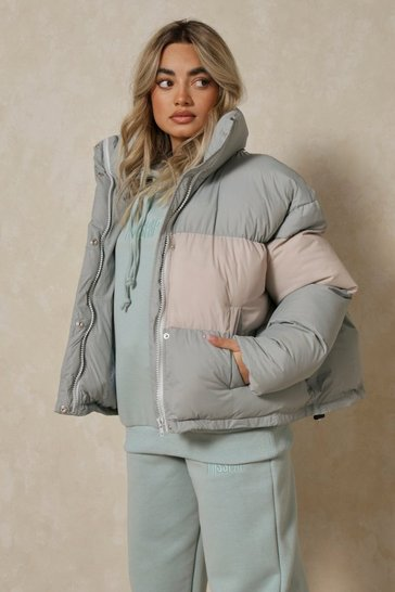 Sage Contrast Oversized Puffer Jacket