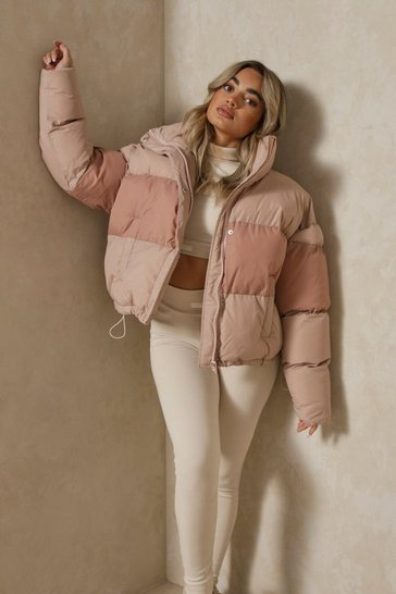 Stone Contrast Oversized Puffer Jacket