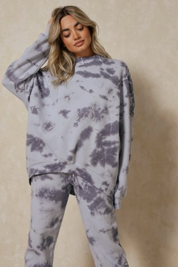 Blue Oversized Tie Dye High Neck Sweatshirt