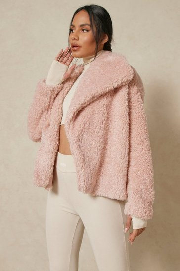 Blush Oversized Collar Teddy Jacket
