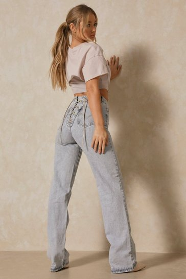 Light blue Lace Up Back Detail Jeans