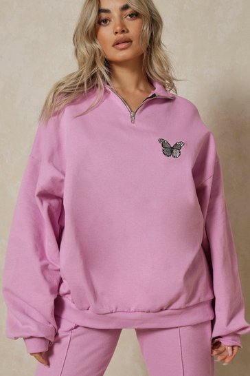 Lilac Butterfly Embroidered Zip Sweatshirt