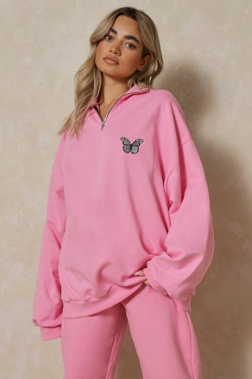 Pink Butterfly Embroidered Zip Sweatshirt
