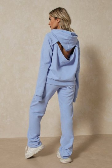 Blue Open Back Wide Leg Jogger Co Ord