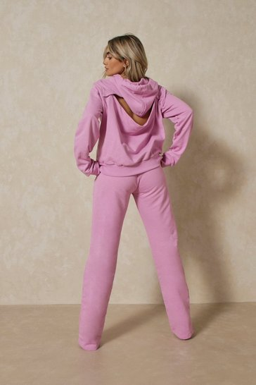 Lilac Open Back Wide Leg Jogger Co Ord