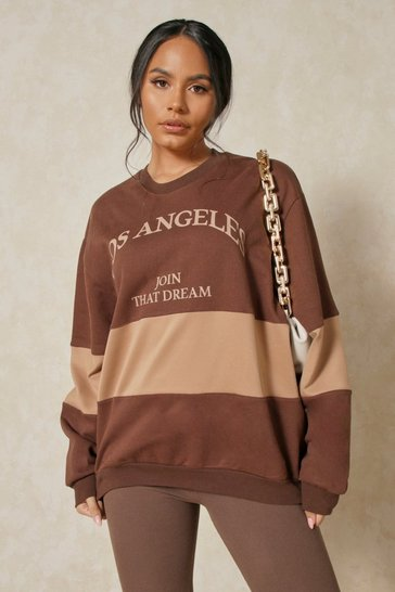 Chocolate Los Angeles Oversized Contrast Jumper