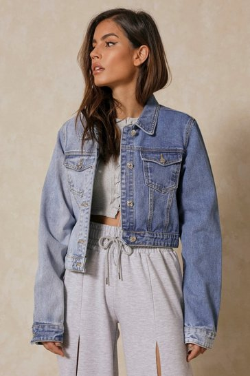 Blue Spliced Oversized Denim Jacket