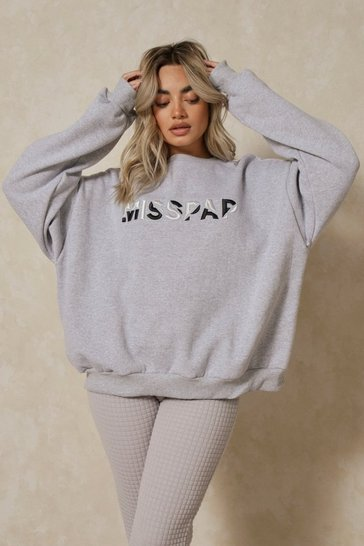 Grey marl Misspap Spliced Embroidered Sweatshirt