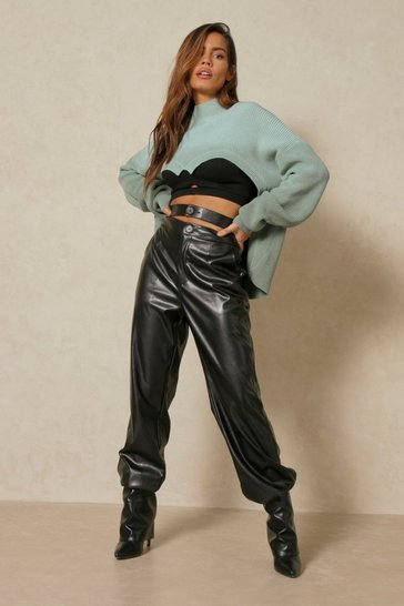 Black Leather Look Double Waisted Joggers